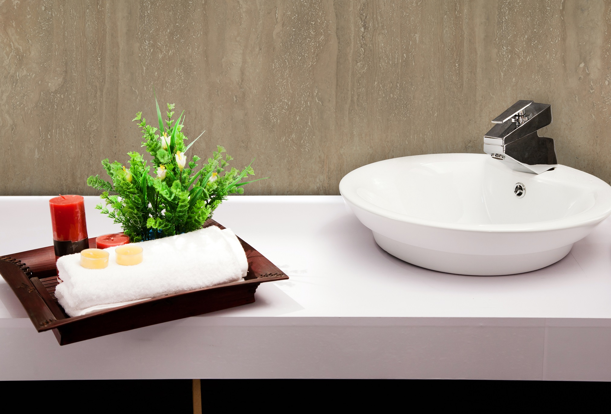 Rustic Travertine with white sink